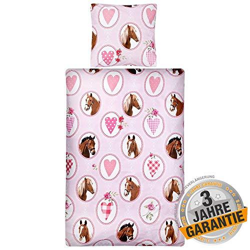 Aminata Kids süße Bettwäsche-Set Pferd 135 x 200 cm + 80 x 80 cm Pferde-Motiv Mädchen, rosa, pink mit Herzen - Baumwolle mit Reißverschluss, unsere Kinder-Bettwäsche mit Pferdebettwäsche-Motiv, Herz