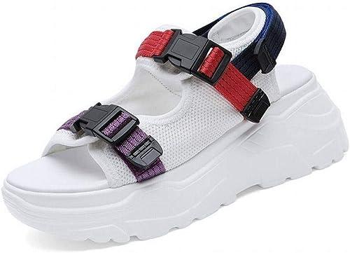 LTN Ltd - sandals Muffins à Fond épais Sandales Sandales Femme été Chaussures Populaires Chaussures Grande Taille Chaussures Printemps, Blanc Rouge, 36  70% de réduction