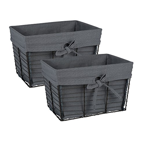 DII Vintage Grey Wire Baskets for Storage Removable Fabric Liner, Set of 2, Gray 2 Piece