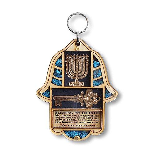 My Daily Styles - Hamsa Menorah in legno ebraico per la casa, decorazione da parete con turchese