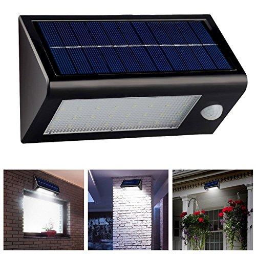 LingsFire® étanche IP65 Super Bright 400 Lumens 32 LED lampe solaire détecteur de mouvement, lumière de nuit sans fil Propulsé PIR Motion Sensor capteur optique induction Lampe de nuit Pour extérieure Lumière de mur, Lumière de sécurité pour Porte, Entrée, Chemins, jardin ,Patios(noir)