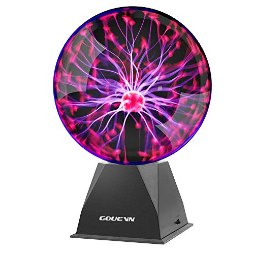 Gouevn Plasma Ball 8 Inch - Plasma Globe Touch & Sound Activated Plasma Lamp Electric Ball, A Cool Science Novelty Gift for Decorations, Parties, Bedroom