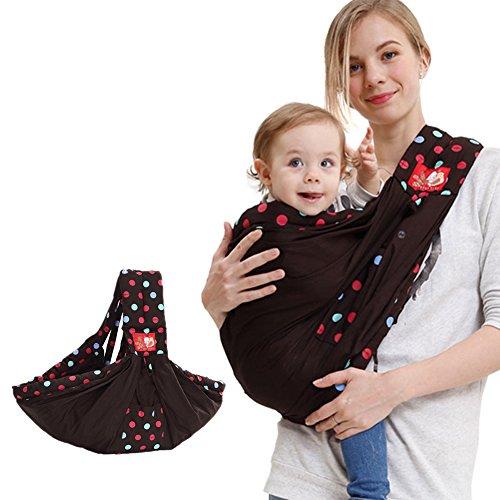Angelparty Fular Portabebés | Mochila Portabebé Bebé Abrigarse Verano Respirable | Ajustable Solo Hombro Portafusil | Punto Diseño | Adecuado para 0-24 Mes bebés | Marrón