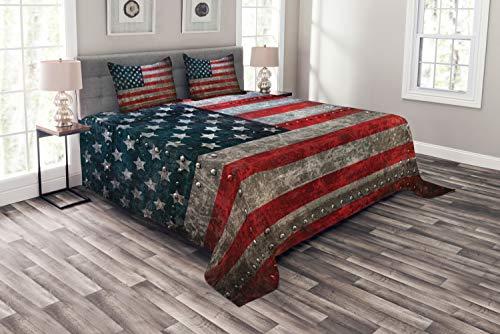 ABAKUHAUS Amerikanische Flagge Tagesdecke Set, US-Flaggen-Platte, Set mit Kissenbezügen Klare Farben, für Doppelbetten 220 x 220 cm, Rot Grauen