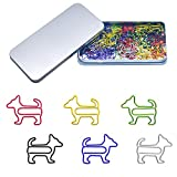80 Pcs Adorable Dog Animal Shaped Paper Memo Clips Bookmark Assorted Colors in Gift Box for Students, Kids, Teachers