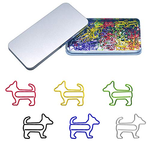 80 Pcs Adorable Dog Animal Shaped Paper Memo Clips Bookmark Assorted Colors in Gift Box for Students Kids Teachers