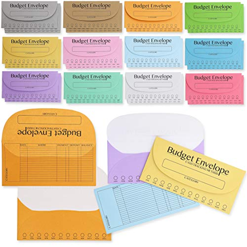 Juvale 96-Pack Budget Envelopes for Cash, Money Savings, Budgeting, 12 Colors, 8 of Each, 6.5 x 3 inches