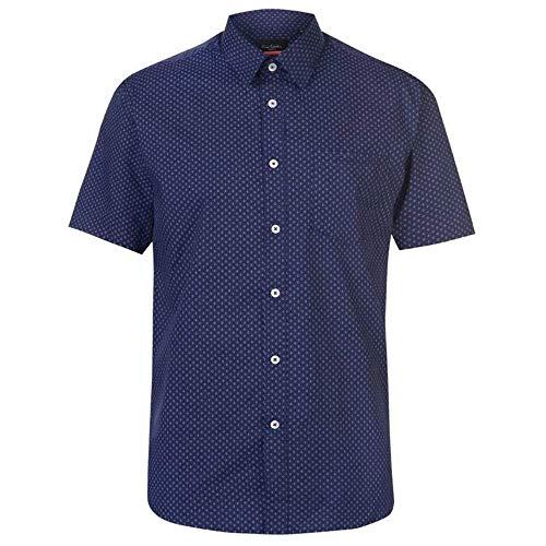 Pierre Cardin - Camisa Casual - con Botones - con Botones - Manga Corta - para Hombre Marineblau/Weiss Geo X-Large