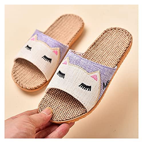 KHFSD Zapatillas Zapatillas de Lino para niños, Zapatillas de casa Plana, Suave Transpirable, Zapatos de algodón para el hogar de Punta Abierta, Zapatillas Planas para Dormitorio