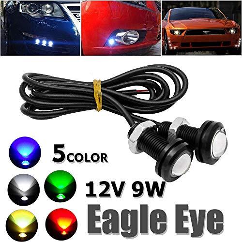LED Eagle Eyes, Maso 12 V 9 W coche diurno Running DRL luz trasera de respaldo lámpara de marcha atrás con tornillo para moto coches, amarillo