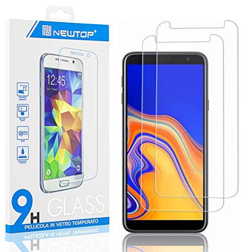 N NEWTOP [2 Pezzi] Pellicola GLASS FILM Compatibile per Samsung Galaxy J6 Plus, Fina 0.3mm Durezza 9H in Vetro Temperato Proteggi Schermo Display Protettiva Anti Urto Graffio Protezione