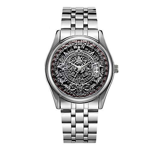 Reloj de lujo para hombre de 30 m, resistente al agua, fecha, reloj deportivo masculino, reloj de cuarzo informal, de Navidad, calendario azteca - Sunstone
