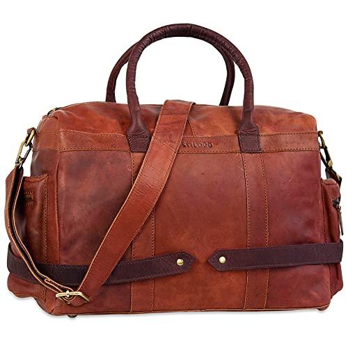 STILORD 'Travis' Bolsa de Viaje o Bandolera pequeña de Piel Vintage Maleta de Mano Deporte o Gimnasio Bolso para Equipaje de Cabina de Cuero auténtico, Color:Cognac-marrón