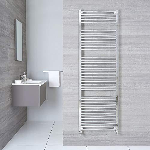 Hudson Reed Sterling Scaldasalviette Moderno di Design Verticale - Termoarredo Bagno Curvo - Design Contemporaneo a Scaletta - Acciaio Cromato - 827W - 1800 x 600mm