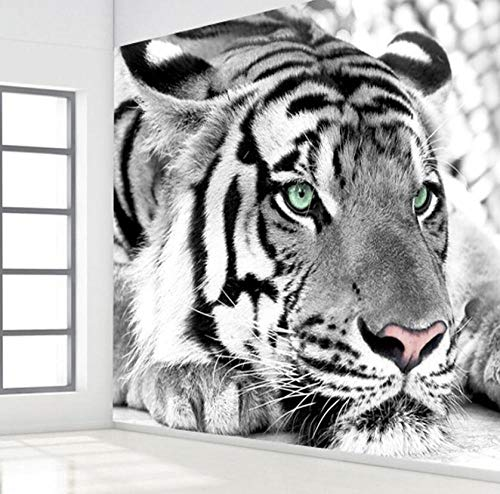 3D vliesbehang behang 3D zwart-wit dier tijger fotobehang woonkamer ingang slaapkamer achtergrond decor fotobehang 430*300 430 x 300.