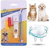 Pasta de dientes para perros, cepillo de dientes para perros, pasta de dientes para perros y gatos, kit de cepillo de dientes y pasta de dientes, mejorar la higiene bucal previene la enfermedad y la p