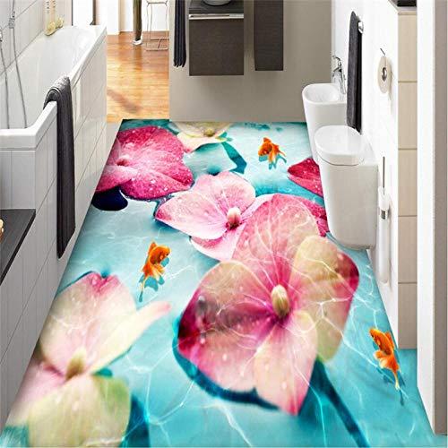 Fotobehang, personaliseerbaar, muurverf, HD, bloemen, rozen, vis, rood, badkamer, 3D-tegels, dik en slijtvast, zelfklevend, PVC 200cm(L)x140cm(W)