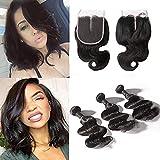 BIPLE 10 inch Human Hair Weave Extensions Brésiliens Hair Perruque 3 Bundle trame + 1 closure