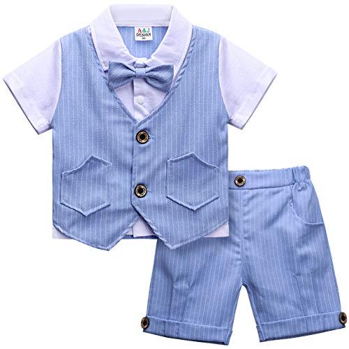 mintgreen Niños Bebes Formal Ropa Caballero Manga Corta Conjuntos de Traje, Azul, 2-3 años (Tamaño del Fabricante: 100)