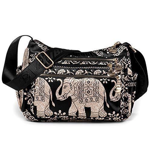 LaRechor Nationaler Elefant Damen Hobo Umhängetasche Schulter Tasche Messenger Tasche mit Grosse Kapazität für Reisen Einkaufen