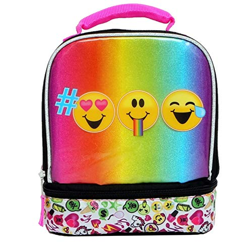 Emojination, Multicolor Emoji Lead Safe chambers insulated Lunch Tote Bag Box, 8 inches by 9 inches