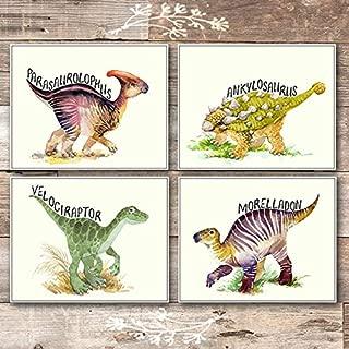 Dinosaur Wall Art Prints Bedroom Decor (Set of 4) - Unframed - 8x10s