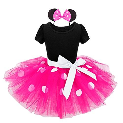 iiniim Bébé Enfant Filles Robe de Princesse Robe à Pois Vintage Robe de Danse Classique Ballet Tutu avec Cheveux Bandeau Grande Taille Haute 1-8 Ans Rose Vif 5 Ans