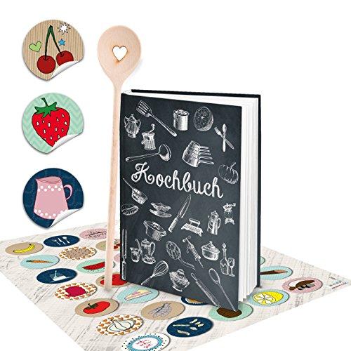 SET receptenboek klein om zelf te schrijven, zwart wit vintage nostalgie, DIN A5 + kooklepel + kleurrijke keukenstickers HARDCOVER, kookboek, mijn recepten, lievelingsrecepten, inschrijven keuken koken