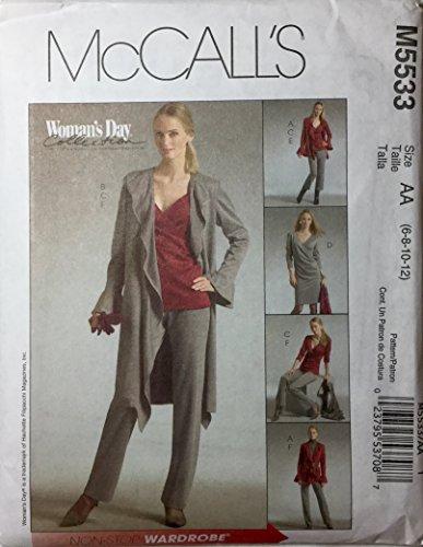 Unbekannt Schnittmuster ungefüttert Jacke Pullover Top Kleid Pull auf Hosen Schnittmuster Vorne Ärmel Volant McCall M 5533Damen Day Collection (6–44–12)