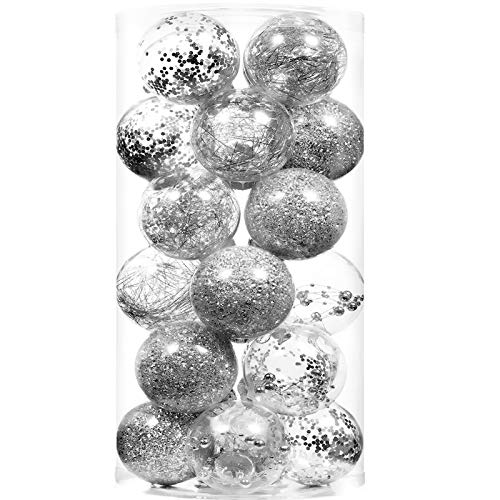 70mm/2.76' Shatterproof Clear Large Christmas Ball Ornaments Hanging Xmas Tree Decorations Ornament Sets for Tree,Christmas Tree Decorations Clearance (24 Count,Silver)