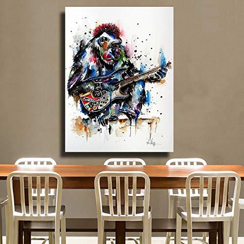 Speel Dierlijke Gitaar Olieverf op Canvas Slaapkamer Li's Wall Art Fotolijst Frameloze Schilderij 75x100cm