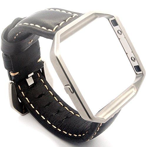 Cheboom - Correa de repuesto de piel auténtica para pulsera Fitbit Blaze para hombres y mujeres con marco de acero inoxidable de eslabones, correa de reloj de estilo retro, talla grande