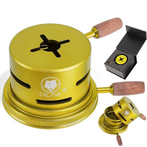 DILAW® Shisha UNO Smokbox   mit nur 1 Kohle   Kamin-aufsatz Aluminium Alu   Passt auf beinahe jeden Kopf   spart Kohlen   Länger Rauchen   für Tabakkopf Kohle Aufsatz   Gold