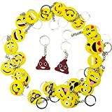 BESTZY Set of 30 Emoji Mini Keychain Key Chain Decorations for Birthday Party, Home Decoration Classroom Rewards and Party Favor