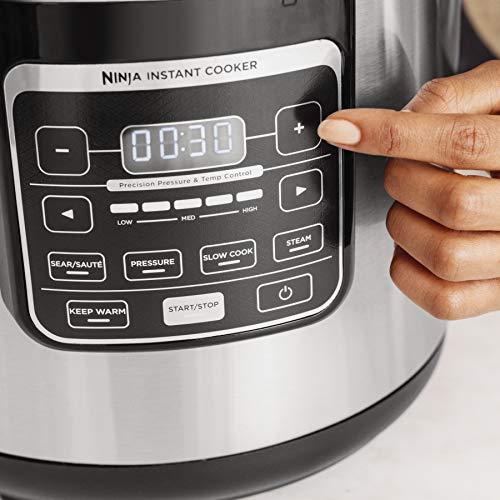 Ninja Instant, 1000-Watt Pressure, Slow, Multi Cooker, and Steamer with 6-Quart Ceramic Coated Pot & Steam Rack (PC101), Black/Si, Silver