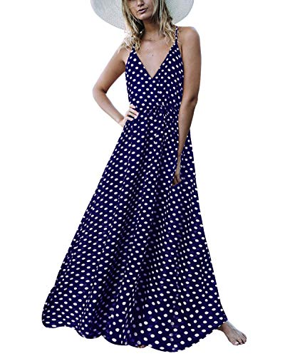 Auxo Damen Ärmellos V-Ausschnitt Dots Kleid Vintage Neckholder Dress Lange Lose Strandkleider 03-Marine X-Large