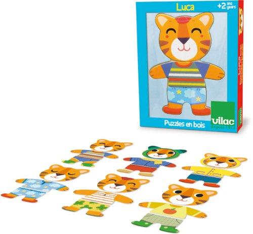 Vilac - 4621 - Puzzle en Bois - Lucas à Habiller - 6 x 3 Pièces