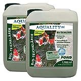 AQUALITY Gartenteich Bio-TeichKlärer 3in1 (Teichklar - Nachhaltig kristallklares Wasser, entfernt deutlich Trübungen im Teich + GRATIS Klarwasser Filtervlies), Inhalt:10 Liter
