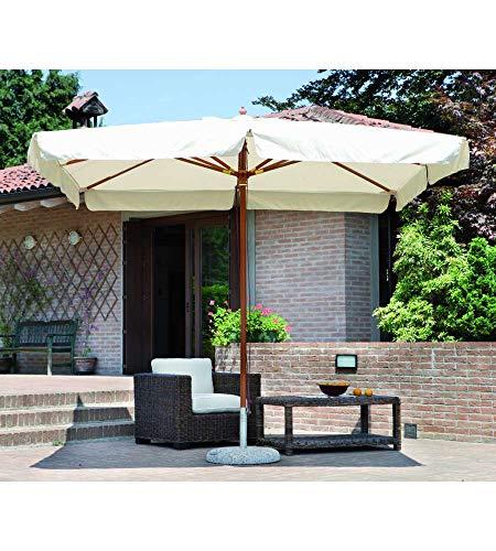 Ombrellone da giardino rettangolare 3 x 4 m. Bastone Ø 48/8 palo unico Legno color teak Ombrellone con due doppie carrucole Finiture in ottone