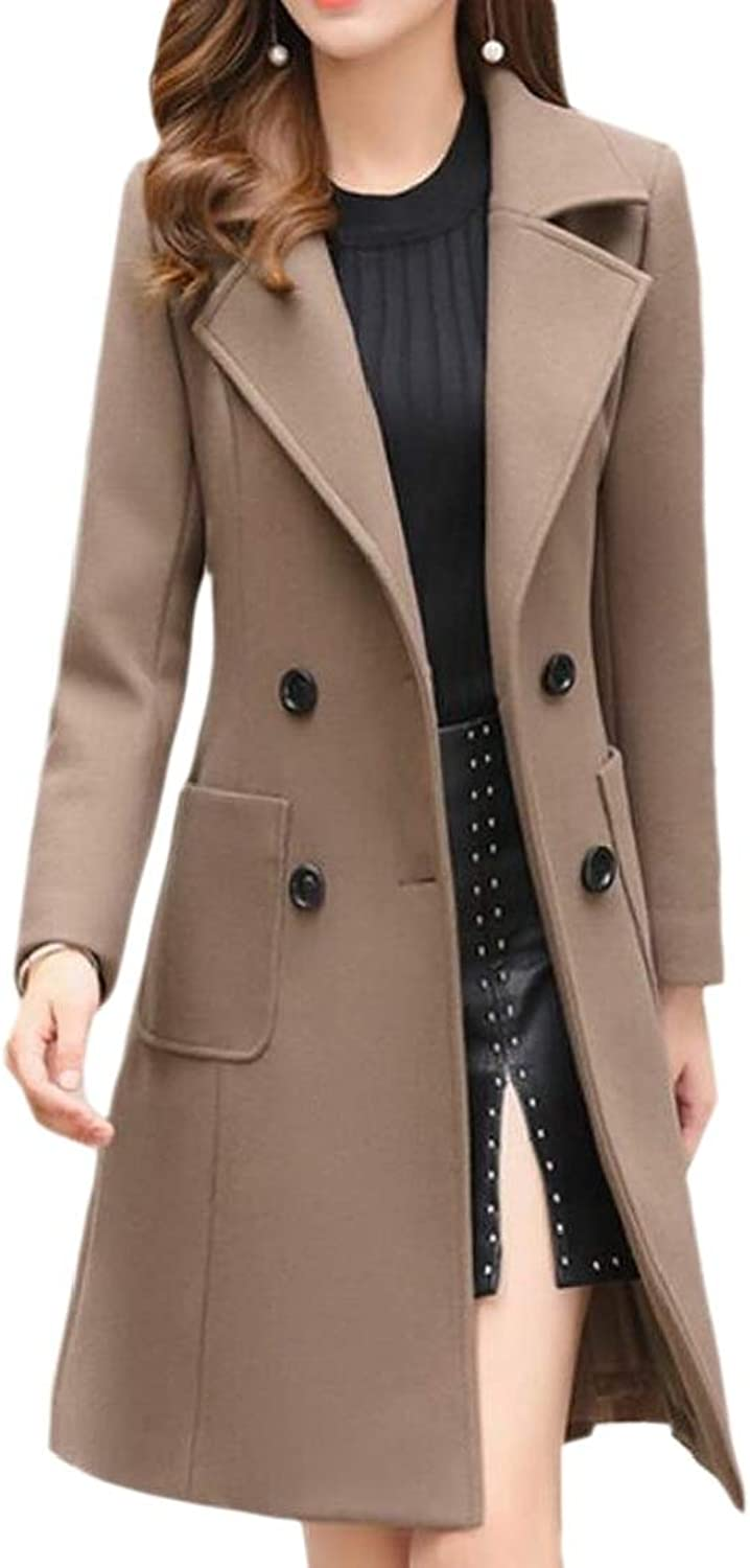 Generic Womens Wollen Double Breasted Chunky Pea Coats