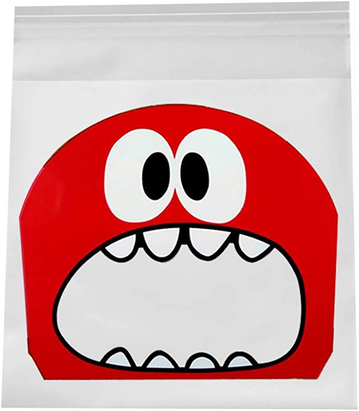100Pcs Candy Bags Cute Monster Pattern Gourmet Self Adhesive Pouch DIY Dessert Biscuit Cookie Candy Mooncake Gift Packing Seal Bag Red