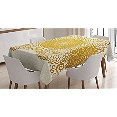 Mandala Tablecloth by Ambesonne, Border with Large Flowers and Curls Chrysanthemums Peonies Rococo Style, Dining Room Kitchen Rectangular Table Cover, 60 W X 84 L Inches, Eggshell Earth Yellow
