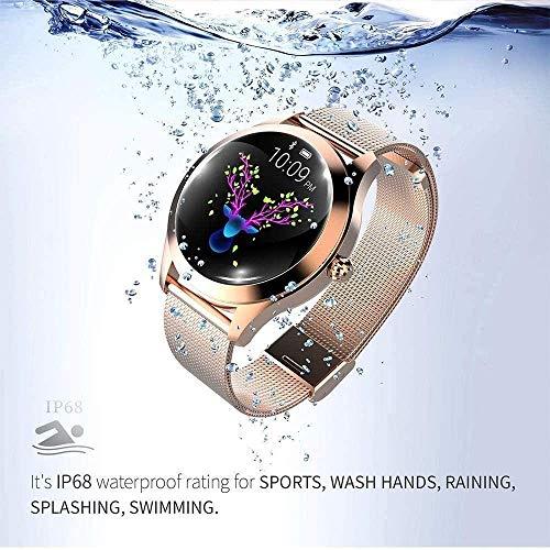 ZHENAO Smart Watch, Pedómetro de Monitor de Ejercicio, Pulsera Brillante Flip Muñeca Pulsera Impermeable Fitness Moda-Blanco Desgaste diario/Silver steel