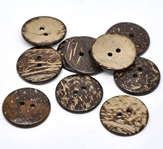 Bottle Caps, Beads and More (Tm) 20 Pcs Brown Coconut Shell 2 Holes Sewing Buttons 38mm (1-1/2
