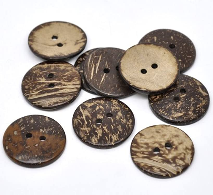 PEPPERLONELY Brand 20PC Brown Coconut Shell 2 Holes Sewing Buttons Scrapbooking 38mm(1-1/2 Inch)