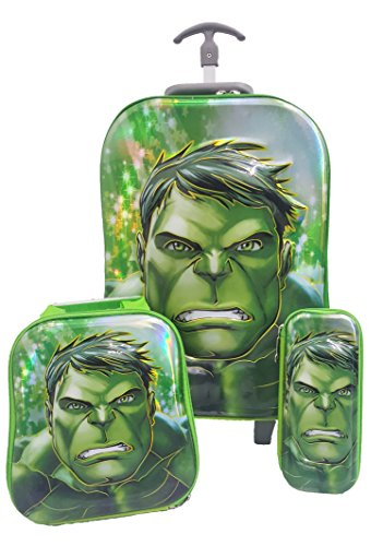 Hulk Marvel Superheros 5D 3 Piece Luggage Trolley Wheel Set Cabin Suitcase Travel