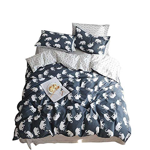 BuLuTu Elephant Print Kids Duvet Cover Sets Twin 100% Cotton Hotel Reversible Bedding Cover Sets 3 Pieces Zip Zipper,Gifts for Boy,Girl,Teen,Friend,Women,Men,Family,NO Comforter,68