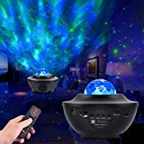 Night Light Projector with Music, Star Night Light Lamp and Ocean Wave Galaxy Projector with Bluetooth Speaker and Remote Control for Kids Adults Room Party Decoration