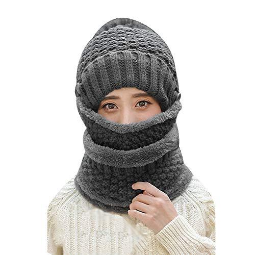 3 en 1 Set Bonnet Écharpe de Cercle Masque Facial...