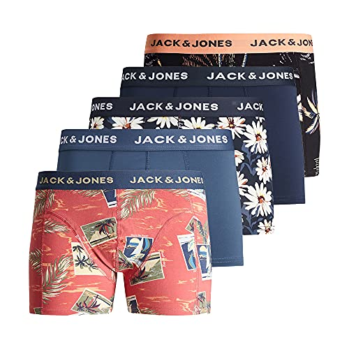 JACK & JONES Herren 5er Pack Boxershorts Unterwäsche, Größe:L, Farbe:5er Pack #MIX4